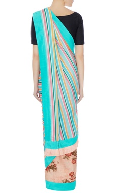 Blue satin linen stripe sari with unstitched blouse fabric