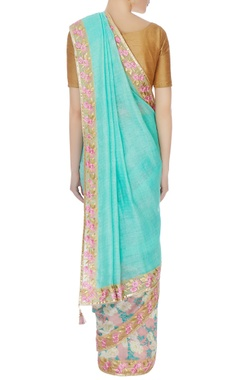 blue chanderi silk sari with embroidered pearl border & blouse piece