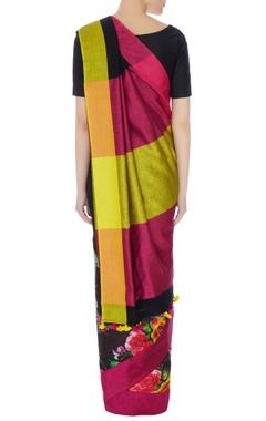 Black floral satin sari with unstitched blouse