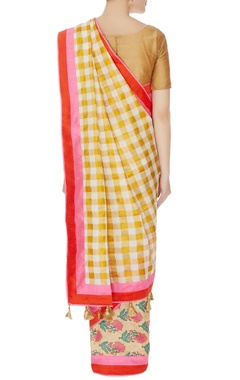 white & gold raw silk check sari with unstitched blouse piece
