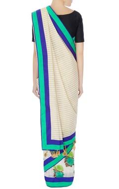 White & gold raw silk stripe sari with unstitched blouse piece