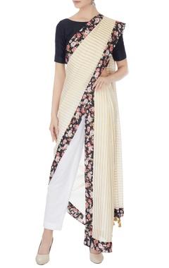 White & gold kerala cotton striped sari