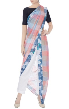 multi-color handwoven linen checkered sari