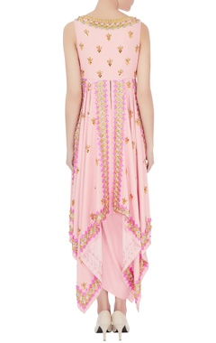 Pink crepe satin embroidered draped skirt with cape