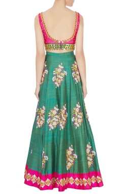 Pink & green embroidered lehenga with dupatta set