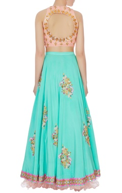 Peach & mint blue embellished lehenga with dupatta set