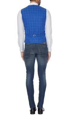 Blue check pattern waistcoat