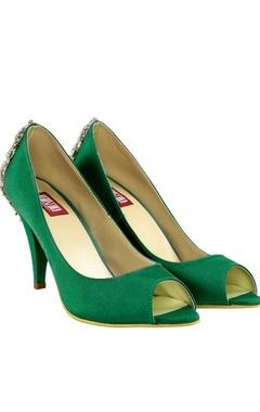 Veruschka Emerald green swarovski brooch heels