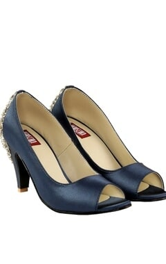 Veruschka Navy blue swarovski peep-toe heels