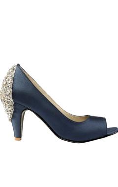 Navy blue swarovski peep-toe heels