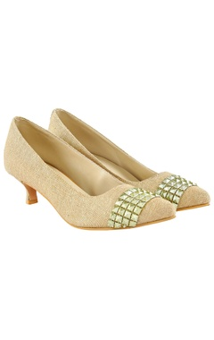 Veruschka Gold jute heels with embellishments