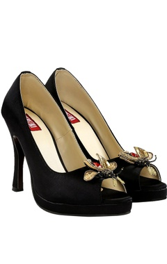 Veruschka Black 4.5-inch peep-toe heels