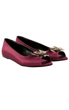 Veruschka Purple peep-toe ballet flats