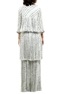 white cotton silk & grosgrain mirror work blouse