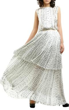 white cotton silk & grosgrain printed blouse