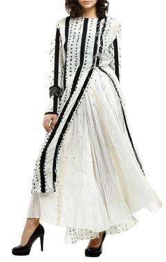 white cotton silk & grosgrain mirror work tie-up kurta