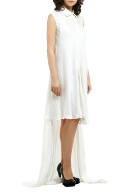 white satin asymmetric shirt dress