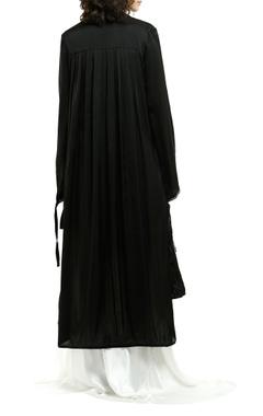 Black grosgrain asymmetric cape