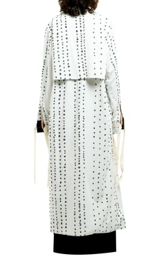 white cotton drill printed front open jacket