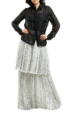 black cotton silk printed blouse