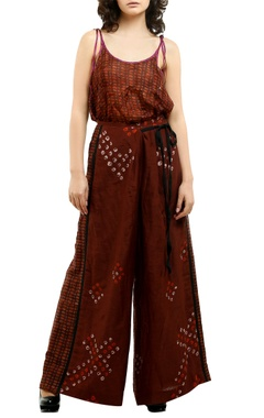 Brown cotton silk printed palazzos