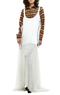 Saaksha & Kinni White cotton drill & chiffon sequin dress