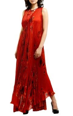 Saaksha & Kinni Red satin wrap-around asymmetric maxi dress