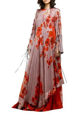 Saaksha & Kinni Pink cotton silk printed asymmetric anarkali