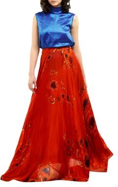 Saaksha & Kinni Red cotton silk printed maxi skirt