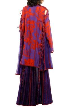 Purple & red printed cotton silk kurta