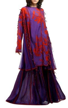 Purple & red printed cotton silk palazzos