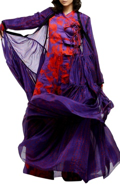 Purple printed flowy cape