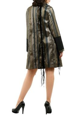 metallic grey organza mini dress