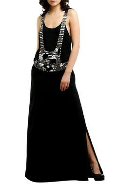 black & white cotton silk vest