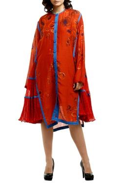 Saaksha & Kinni Red cotton silk kurta with micro-pleated side panels