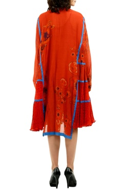 Red cotton silk kurta with micro-pleated side panels