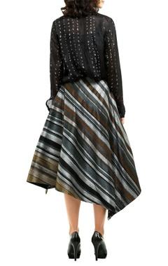 multicolored metallic stripe flared midi skirt
