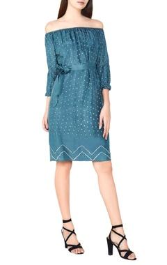 sage silk bandhani off-shoulder dress