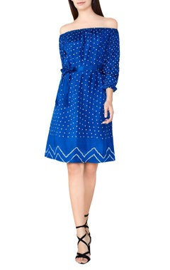 Blue silk bandhani off-shoulder dress