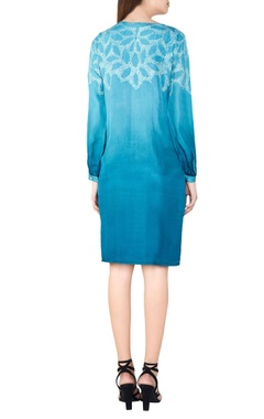 Turquoise silk bandhani shift dress