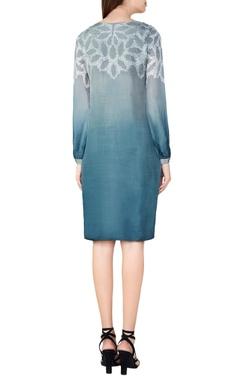 sage silk bandhani shift dress
