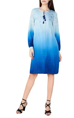 blue silk bandhani shift dress