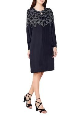 black silk bandhani shift dress
