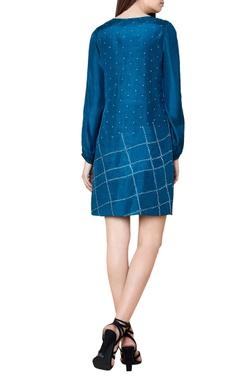 turquoise silk bandhani shift dress