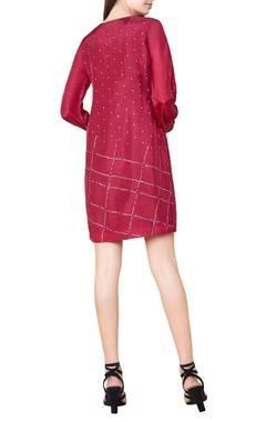 plum silk bandhani shift dress