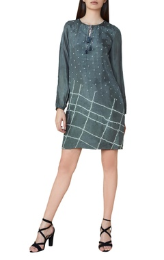 Grey silk bandhani shift dress