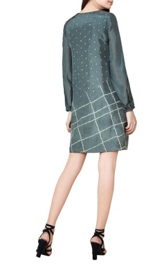 grey silk bandhani shift dress