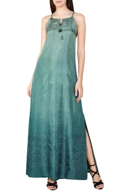 Sage silk bandhani maxi dress