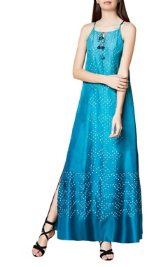 turquoise silk bandhani maxi dress