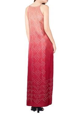 plum silk bandhani maxi dress